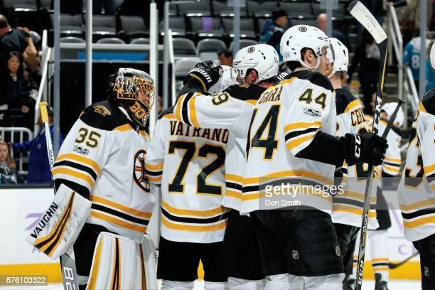 The Boston Bruins celebrate their 31 win over the San Jose Sharks at SAP Center on November 18 2017 in San Jose California