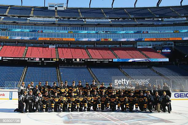 The Boston Bruins pose for a team photo prior to practice at Gillette Stadium on December 31 2015 in Foxboro Massachusetts