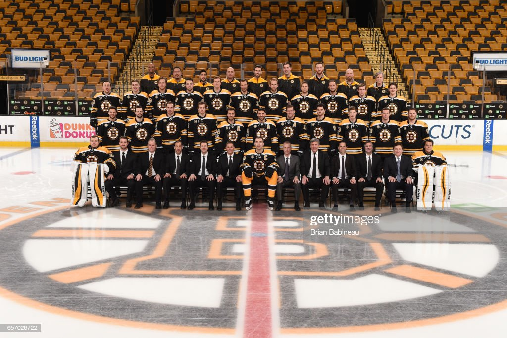 The Boston Bruins pose for their annual team photo at the TD Garden on March 10, 2017 in Boston, Massachusetts.