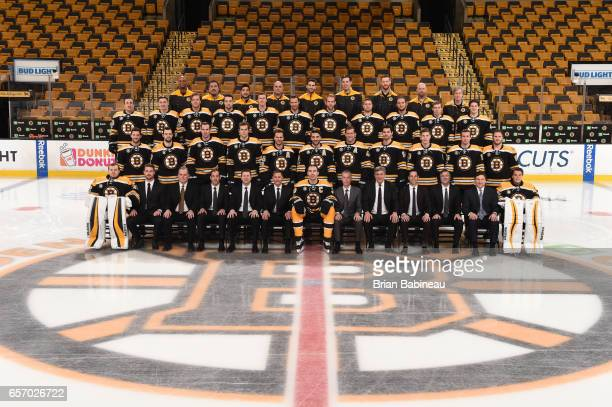 The Boston Bruins pose for their annual team photo at the TD Garden on March 10 2017 in Boston Massachusetts
