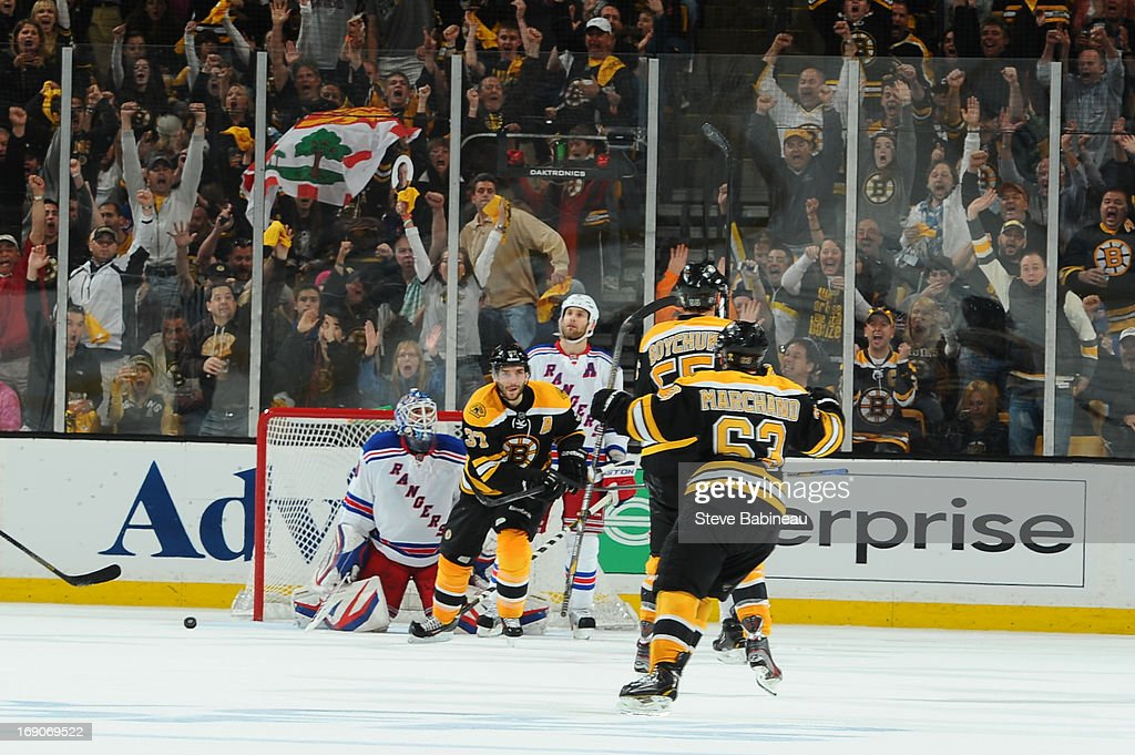 The Boston Bruins score a goal against the New York Rangers in Game Two of the Eastern Conference Semifinals during the 2013 NHL Stanley Cup Playoffs at TD Garden on May 19, 2013 in Boston, Massachusetts.