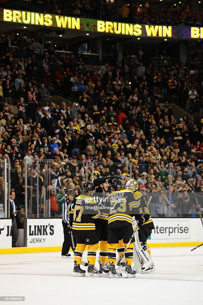 The Boston Bruins win in overtime against the Carolina Hurricanes at the TD Garden on November 23, 2013 in Boston, Massachusetts.