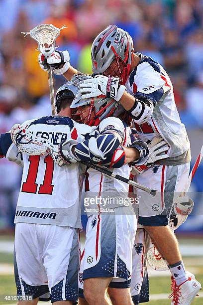 The Boston Cannons celebrate a first quarter goal against the Ohio Machine on July 25 2015 at Selby Stadium in Delaware Ohio