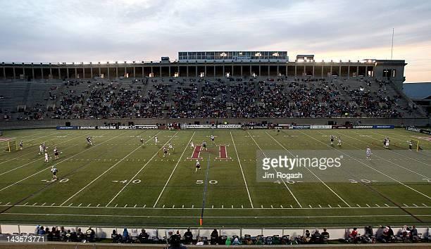 The Boston Cannons face the Rochester Rattlers at Harvard Stadium April 28 2012 in Boston Massachusetts