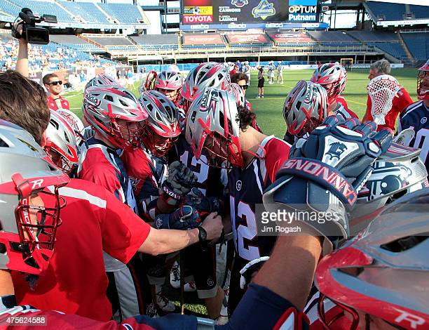 The Boston Cannons react before a game against the Florida Launch at Gillette Stadium on May 30 2015 in Foxboro Massachusetts