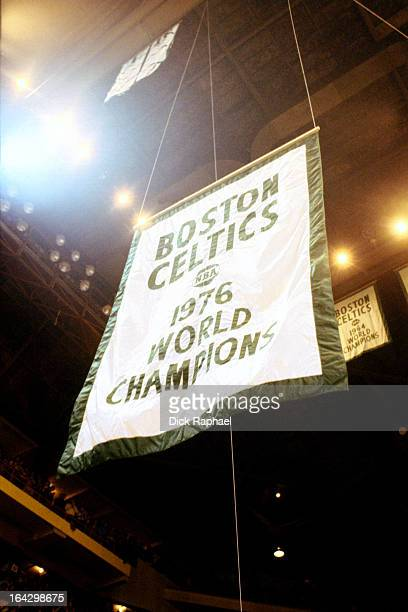 The Boston Celtics 1976 championship banner hangs during a game played circa 1976 at the Boston Garden in Boston Massachussets NOTE TO USER User...
