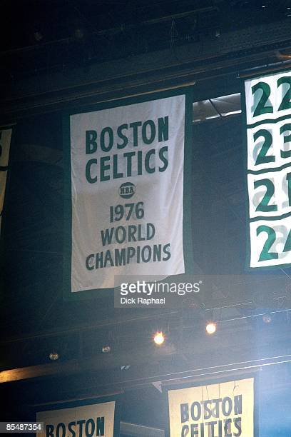 The Boston Celtics 1976 World Championship banner is raised to the rafters prior to a game played in 1977 at the Boston Garden in Boston...