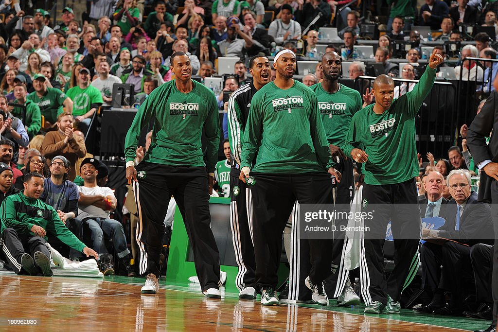 The Boston Celtics bench celebrates during the game against the Los Angeles Lakers on February 7, 2013 at the TD Garden in Boston, Massachusetts.