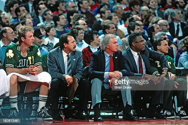 The Boston Celtics bench looks on against the Portland Trail Blazers during a game played circa 1987 at the Veterans Memorial Coliseum in Portland...