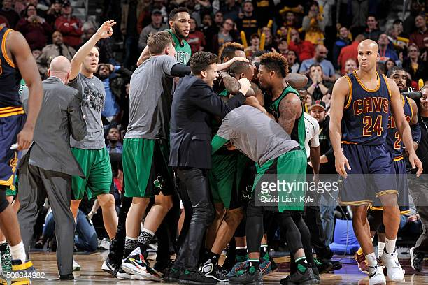 The Boston Celtics celebrate Avery Bradley's of the Boston Celtics game winning shot against the Cleveland Cavaliers on February 5 2016 at Quicken...