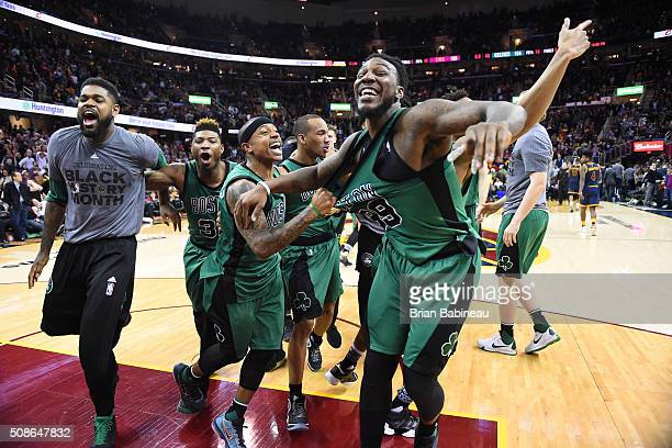 The Boston Celtics celebrate the last shot Avery Bradley of the Boston Celtics made against the Cleveland Cavaliers on February 5 2016 at Quicken...