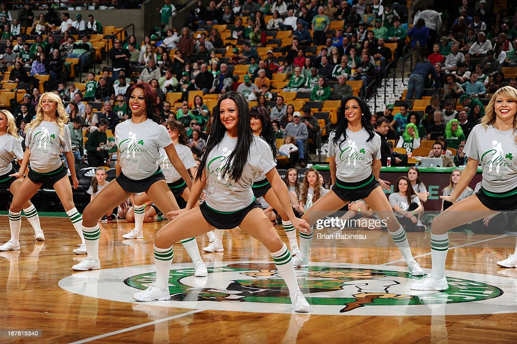The Boston Celtics dance team entertains the crowd during the game against the Washington Wizards on April 7, 2013 at the TD Garden in Boston, Massachusetts.
