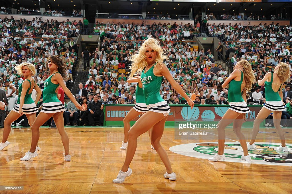 The Boston Celtics dance team entertains the crowd during the game against the New York Knicks in Game Four of the Eastern Conference Quarterfinals on April 28, 2013 at the TD Garden in Boston, Massachusetts.