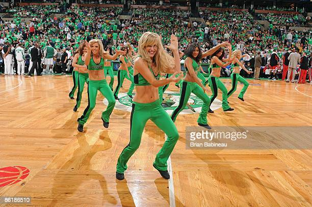 The Boston Celtics dance team perform in Game One of the Eastern Conference Quarterfinals against the Chicago Bulls during the 2009 NBA Playoffs at...