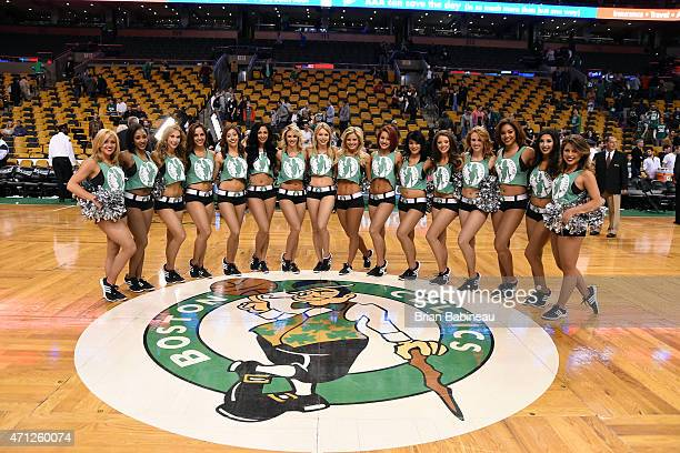 The Boston Celtics dance team pose for a picture after a game against the Cleveland Cavaliers in Game Four of the Eastern Conference Quarterfinals...