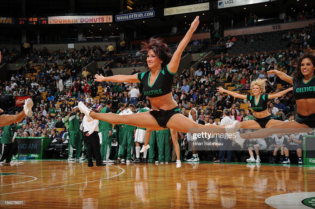 The Boston Celtics dancers entertain the crowd during the game against the Brooklyn Nets on October 16, 2012 at the TD Garden in Boston, Massachusetts.