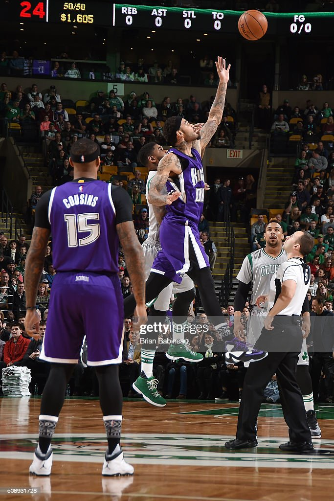 The Boston Celtics fights for the jump ball against the Sacramento Kings during the game on February 7, 2016 at the TD Garden in Boston, Massachusetts.