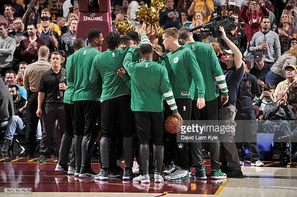 The Boston Celtics huddle up before the game against the Cleveland Cavaliers on November 3 2016 at Quicken Loans Arena in Cleveland Ohio NOTE TO USER...