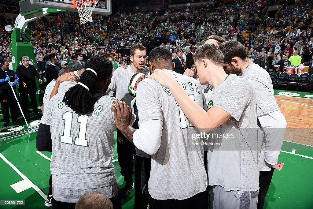 The Boston Celtics huddle up before the game against the Sacramento Kings on February 7, 2016 at the TD Garden in Boston, Massachusetts.