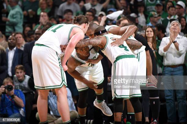 The Boston Celtics huddle up during the game against the Chicago Bulls during Game Five of the Eastern Conference Quarterfinals of the 2017 NBA...
