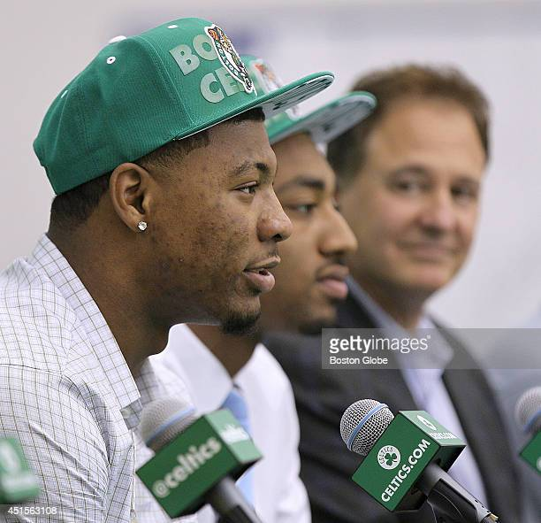 The Boston Celtics introduce their new draft picks Marcus Smart left and James Young on Monday June 30 2014 Managing partner Steve Pagliuca is at...