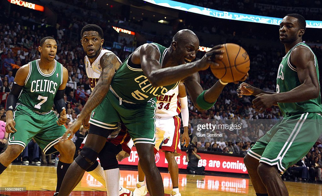 The Boston Celtics' Kevin Garnett (5) comes down with a rebound during the second quarter against the Miami Heat at the American Airlines Arena in Miami, Florida, in the season-opener on Tuesday, October 30, 2012.