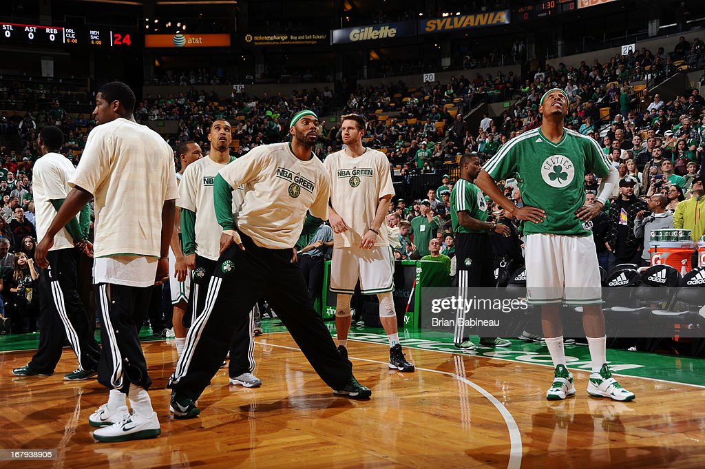 The Boston Celtics look on before the game against the Washington Wizards on April 7, 2013 at the TD Garden in Boston, Massachusetts.