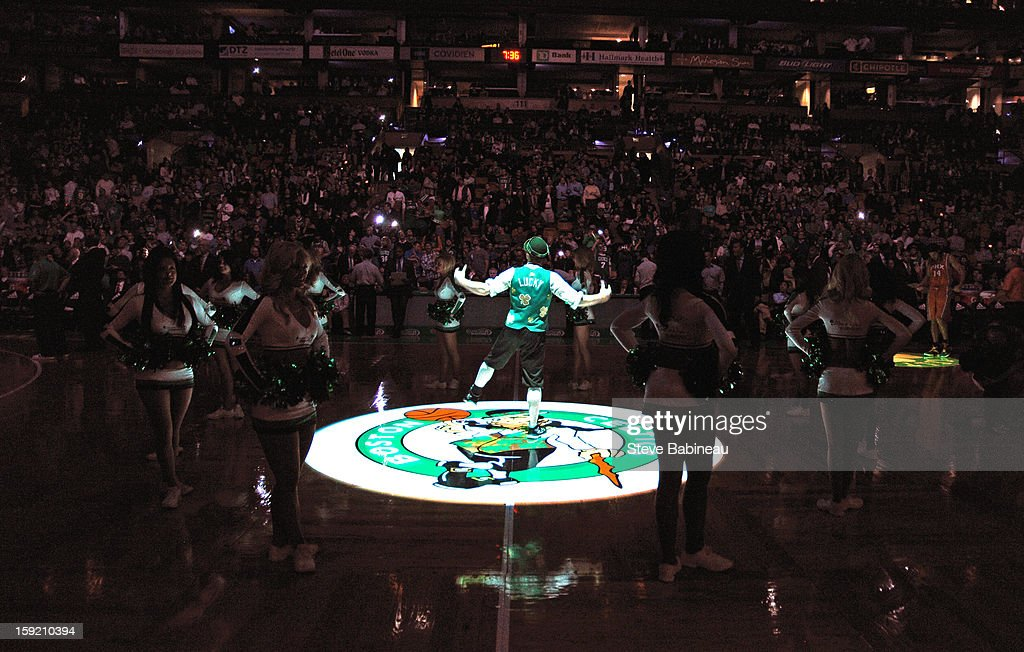 The Boston Celtics mascot gets the crowd ready before the game against the Phoenix Suns on January 9, 2013 at the TD Garden in Boston, Massachusetts.