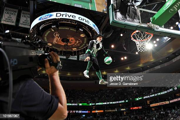 The Boston Celtics mascot Lucky performs in Game Four of the 2010 NBA Finals on June 10 2010 at TD Garden in Boston Massachusetts NOTE TO USER User...