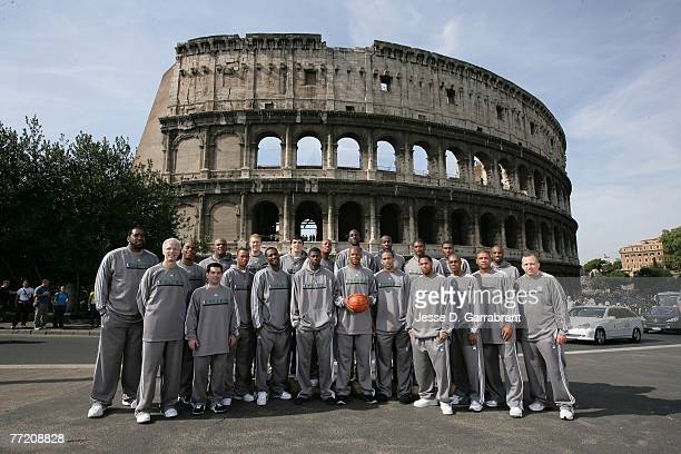 The Boston Celtics pose for their team photo in front of the Colosseum during the 2007 NBA Europe Live Tour on October 6 2007 at the in Rome Italy...