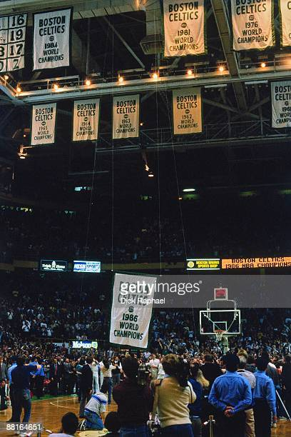 The Boston Celtics raise their 1986 NBA Championship banner prior to an NBA game played in 1987 at the Boston Garden in Boston Massachusetts NOTE TO...
