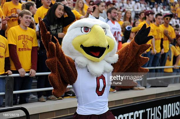 The Boston College Eagles mascot performs during the game against the Maryland Terrapins at Alumni Stadium on October 27 2012 in Chestnut Hill...