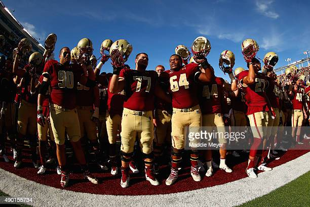 The Boston College Eagles sing their Alma Mater after defeating the Northern Illinois Huskies 1714 at Alumni Stadium on September 26 2015 in Chestnut...