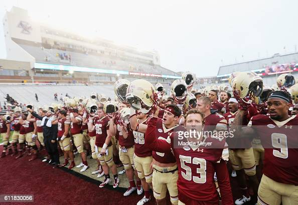 The Boston College Eagles sing their Alma Mater after defeating the Buffalo Bulls 353 at Alumni Stadium on October 1 2016 in Chestnut Hill...