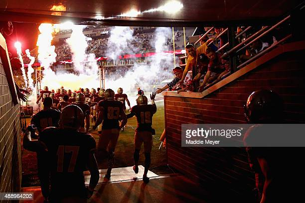 The Boston College Eagles take the field before their game against the Florida State Seminoles at Alumni Stadium on September 18 2015 in Chestnut...