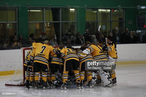 The Boston Pride team in a huddle before the Connecticut Whale vs Boston Pride National Women's Hockey League game at Chelsea Piers Stamford...