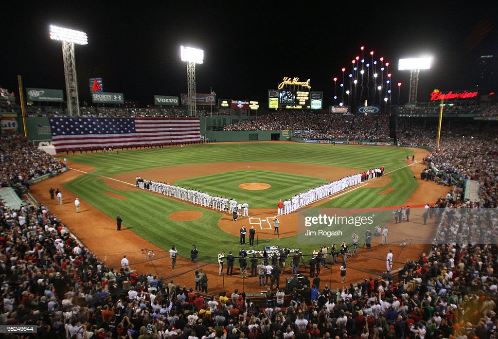 The Boston Red Sox and the New York Yankees line up before a game on Opening Night at Fenway Park on April 4, 2010 in Boston, Massachusetts.