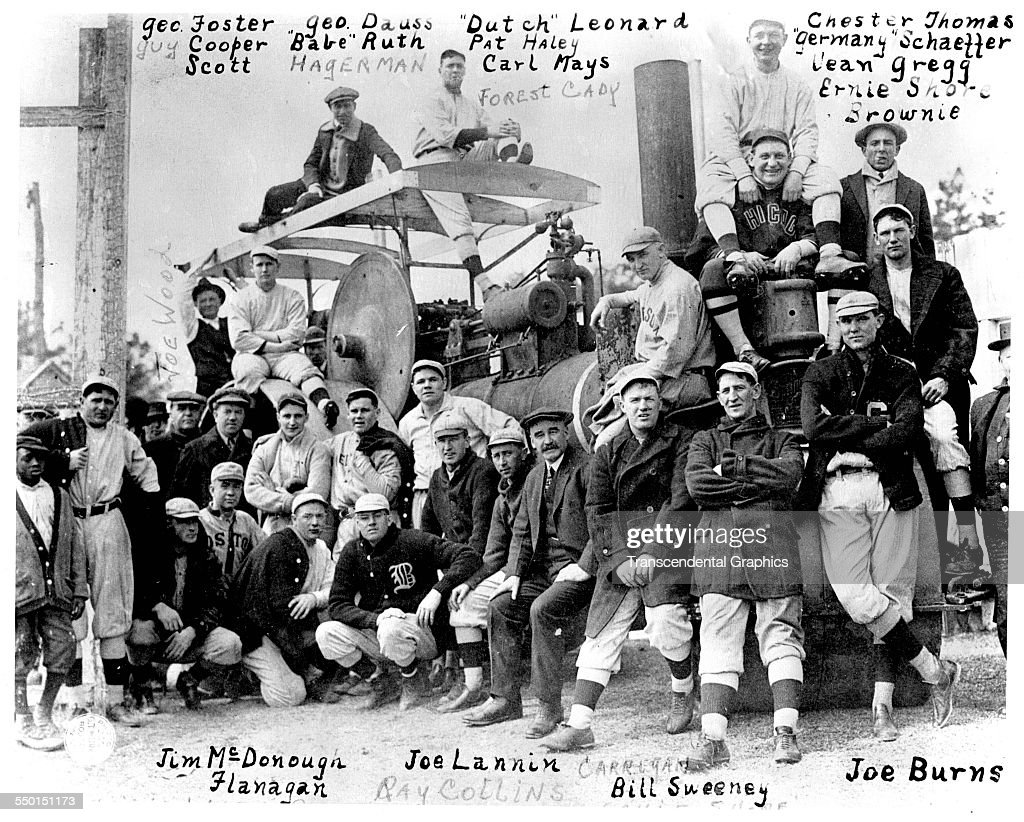 The Boston Red Sox Baseball Club poses on a large tractor during spring training Hot Springs Arkansas March 1915