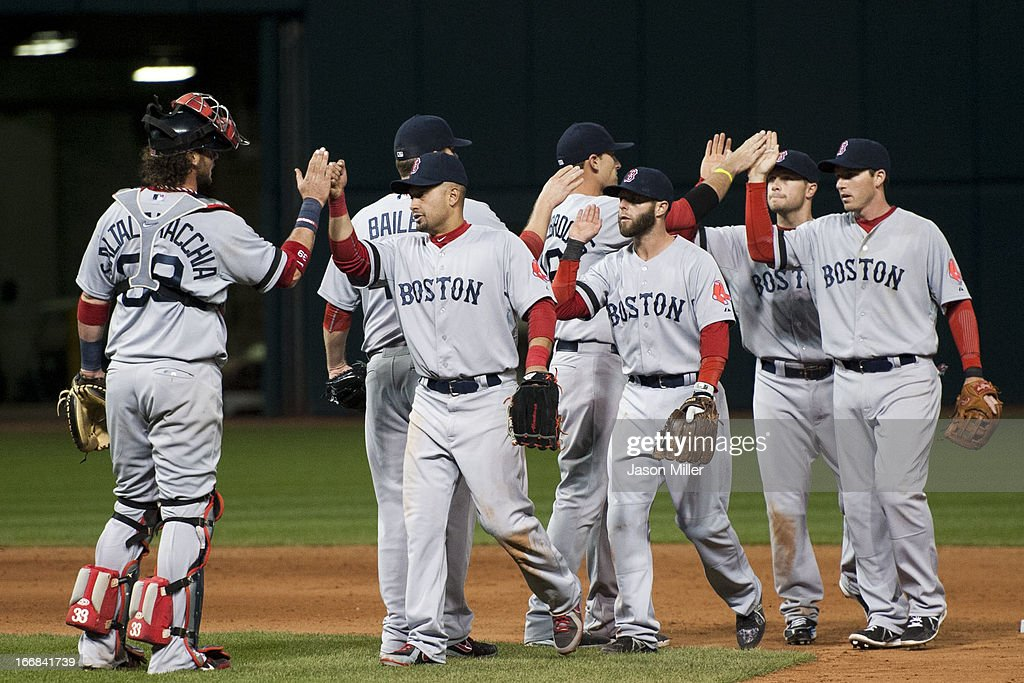 The Boston Red Sox celebrate after defeating the Cleveland Indians 6-3 at Progressive Field on April 17, 2013 in Cleveland, Ohio.
