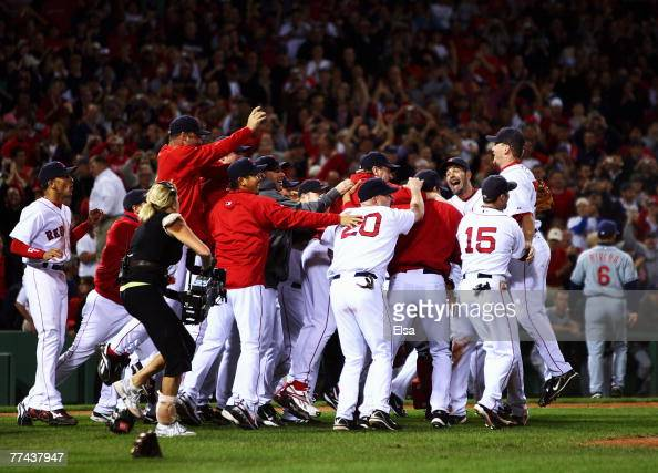 The Boston Red Sox celebrate after defeating the Cleveland Indians by the score of 112 to win the American League Championship Series in seven games...
