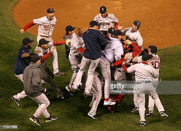 The Boston Red Sox celebrate after defeating the Colorado Rockies in Game Four of the 2007 World Series at Coors Field on October 28 2007 in Denver...