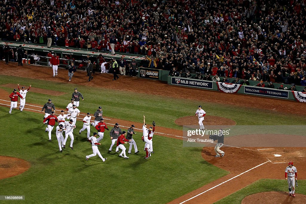 The Boston Red Sox celebrate after defeating the St. Louis Cardinals in Game Six of the 2013 World Series at Fenway Park on October 30, 2013 in Boston, Massachusetts. The Boston Red Sox defeated the St. Louis Cardinals 6-1.