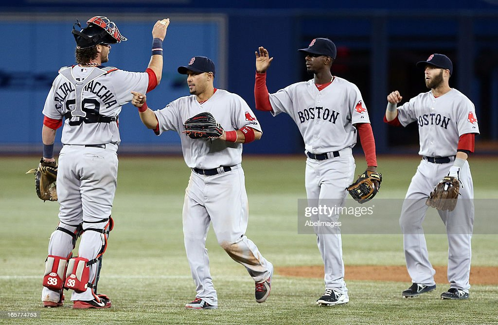 The Boston Red Sox celebrate win against the Toronto Blue Jays during MLB action at the Rogers Centre April 5, 2013 in Toronto, Ontario, Canada.