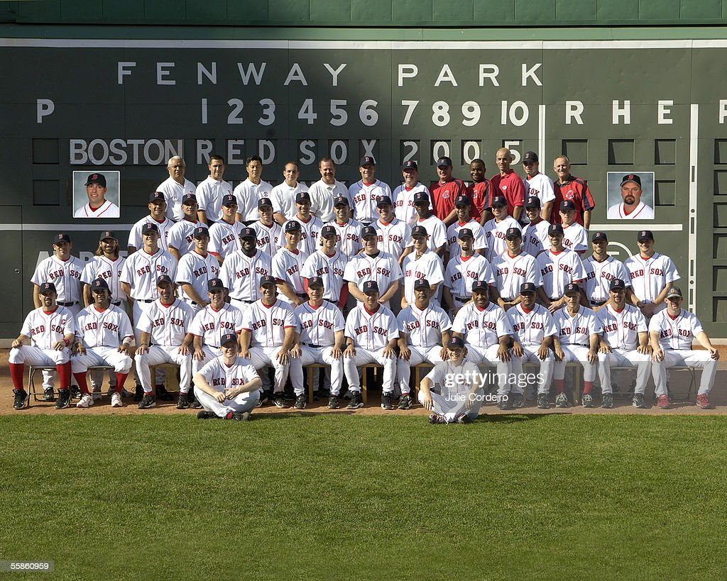 The Boston Red Sox pose for the team photo at Fenway Park on September 3, 2005 in Boston, Massachusetts.