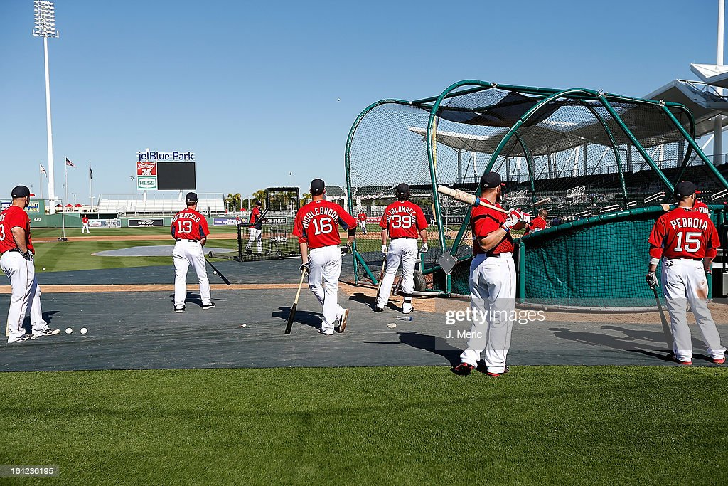 The Boston Red Sox take batting practice just before the star of the Grapefruit League Spring Training Game against the Philadelphia Phillies at JetBlue Park on March 21, 2013 in Fort Myers, Florida.