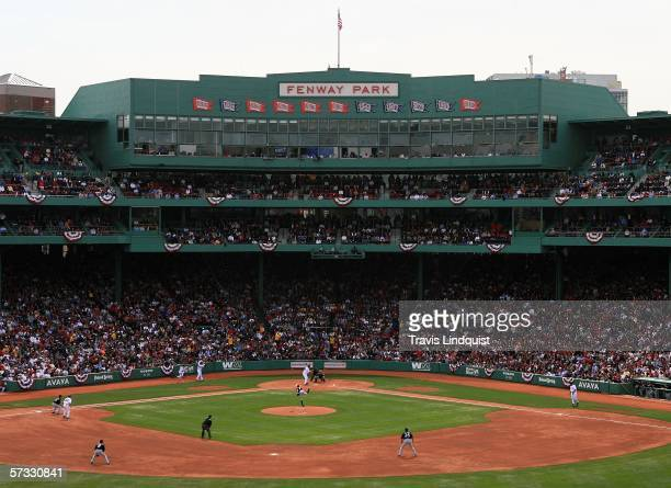 The Boston Red Sox take on the Toronto Blue Jays in the Red Sox home opener on April 11 2006 at Fenway Park in Boston Massachusetts