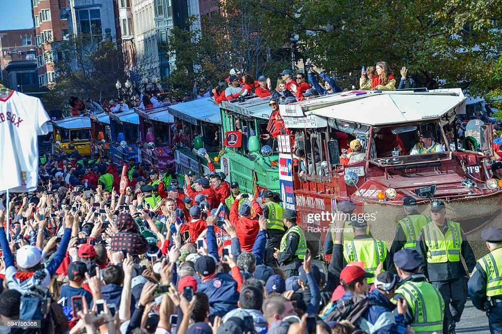 The Boston Red Sox World Series victory Rolling Rally passes through Copley Square in Boston MA on November 2 2013 Members of the Boston Red Sox...