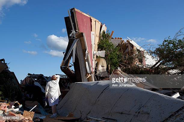 The Bottom Of A Mobile Home Stands Vertically After It Was Hit By Tornado In