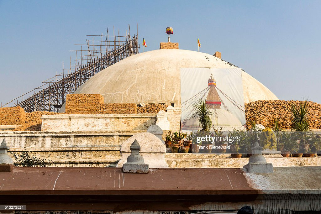 The Boudhanath Stupa in Boudha was damaged during the 2015 earthquake and is under reconstruction now