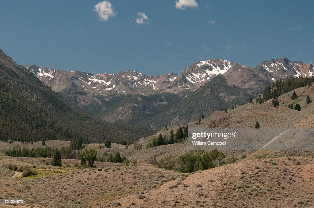 The Boulder Mountains as seen from the East Fork Road in the Sawtooth National Recreation Area of the Sawtooth National Forest in Idaho